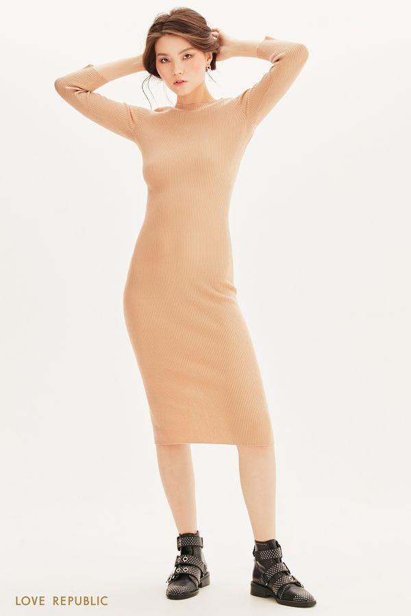 Платье миди из трикотажа в рубчик 1358311501-50