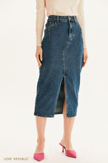 Прямая юбка из денима с разрезом 1358407214