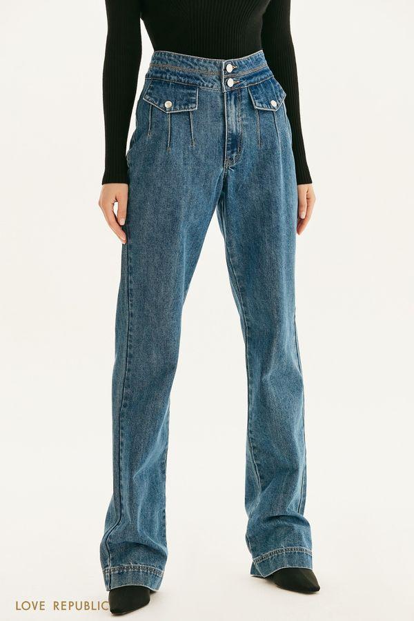Широкие джинсы с высокой посадкой 1358412725-103