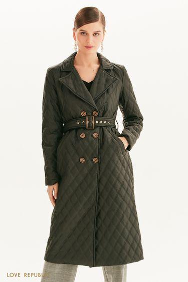 Стеганое пальто с поясом 1358508111
