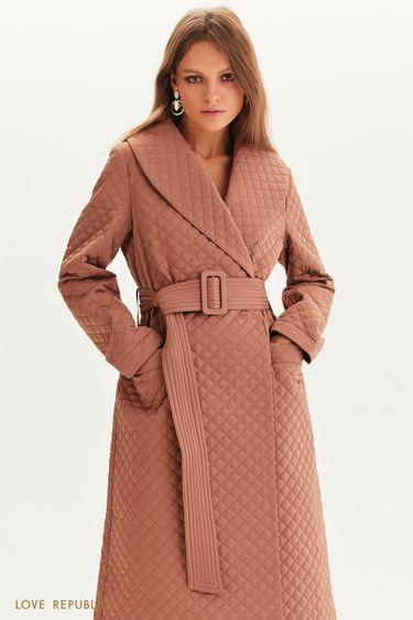 Стеганое пальто с поясом 1358517117