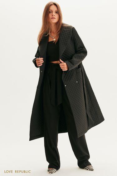 Стеганое пальто с поясом 1358518117