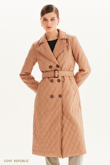 Стеганое пальто с поясом 1358532111
