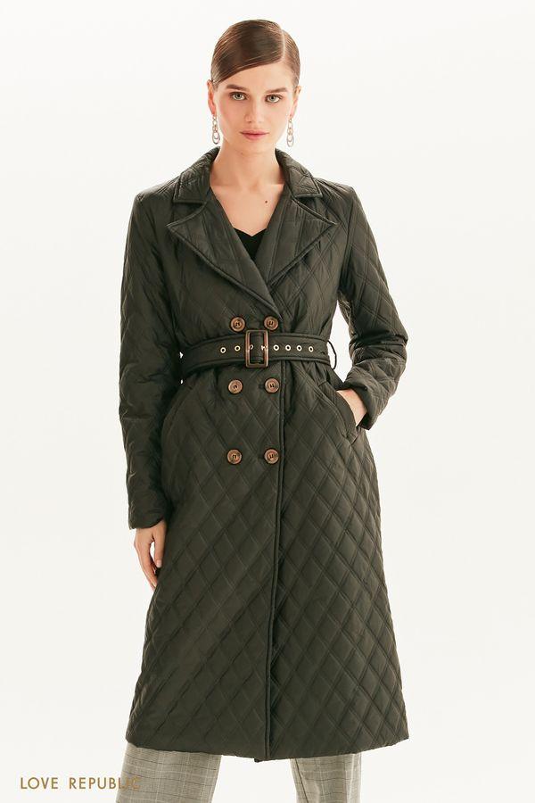 Стеганое пальто с поясом 1358508111-50