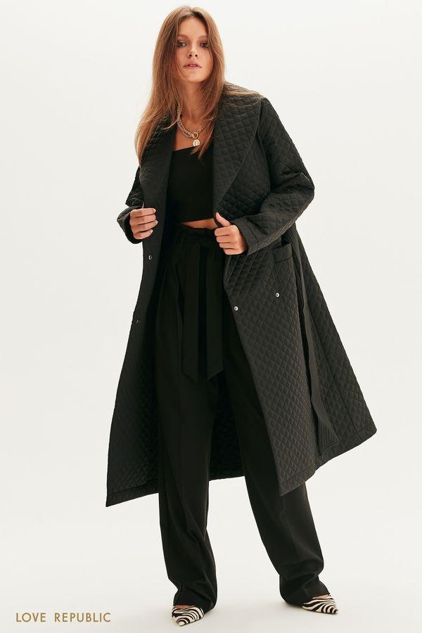 Стеганое пальто с поясом 1358518117-50