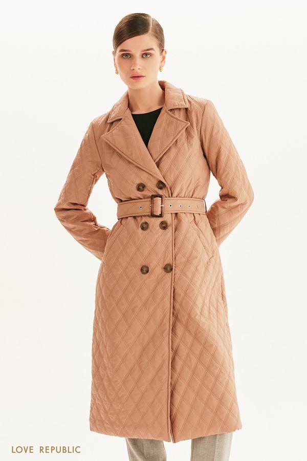 Стеганое пальто с поясом 1358532111-62
