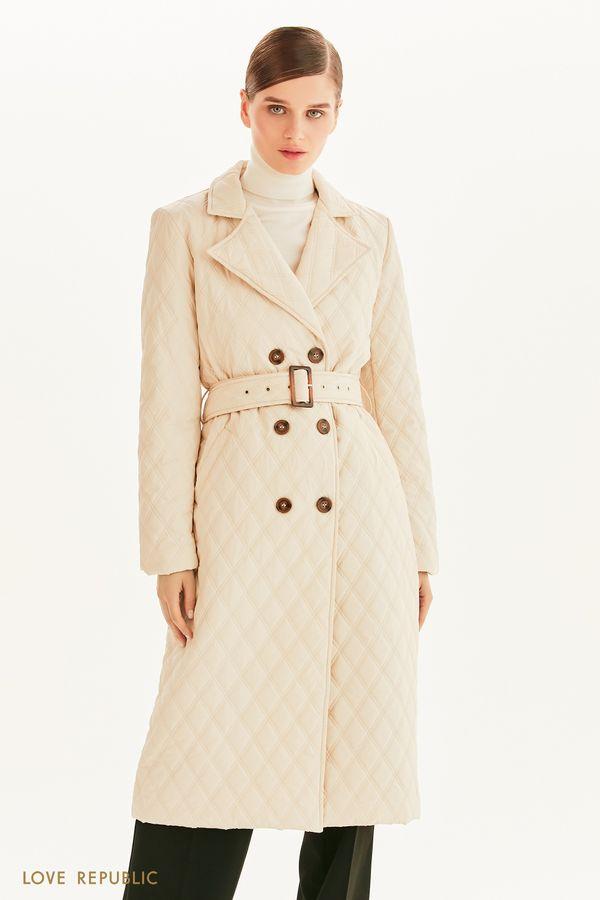 Стеганое пальто с поясом 1358536111-60
