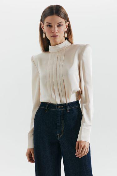 Атласная блузка с подплечниками 1359005306