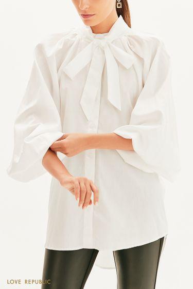 Хлопковая блузка с декоративной лентой 1359006307