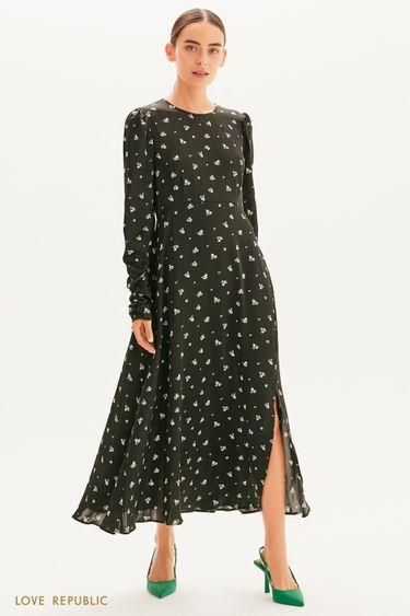 Атласное платье с разрезом 1359017517