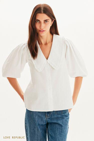 Хлопковая блузка с отложным воротником 1359018321