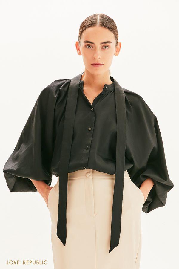 Хлопковая блузка с декоративной лентой 1359006307-1