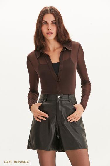 Полупрозрачная блузка из сетки 1359113322