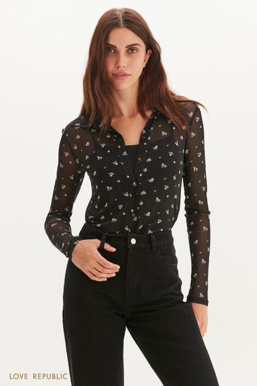 Полупрозрачная блузка из сетки 1359114322