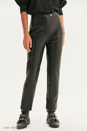 Прямые брюки из экокожи
