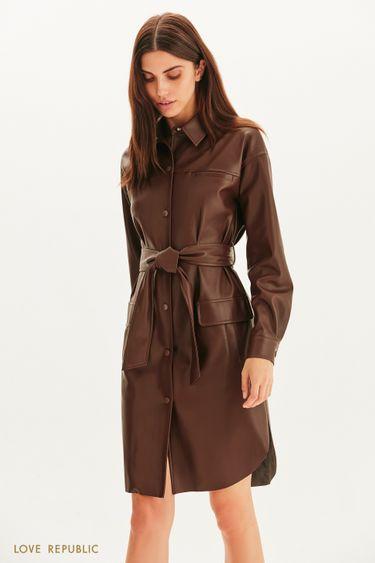Платье из экокожи с поясом 1359215519