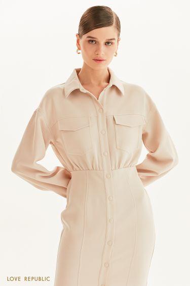 Платье-рубашка с накладными карманами 1359229523