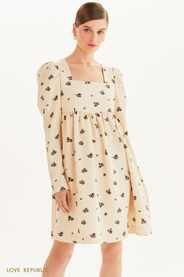 Платье мини с принтом в цветочек 1359243538