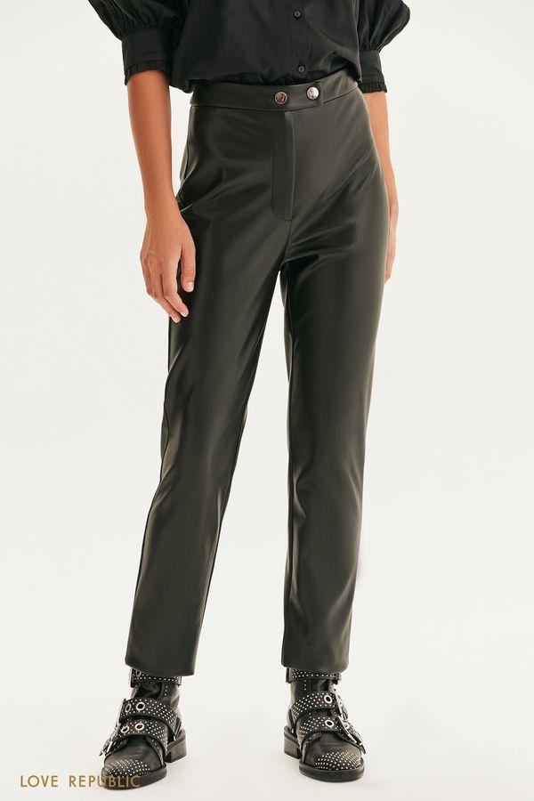 Прямые брюки из экокожи 1359210724-50