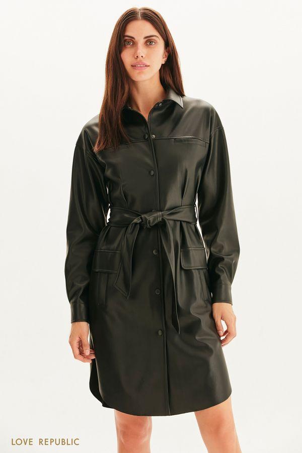Платье из экокожи с поясом 1359215519-66