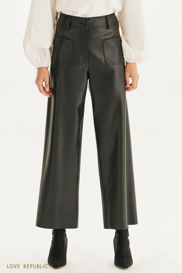 Широкие брюки из экокожи 1359219727-50