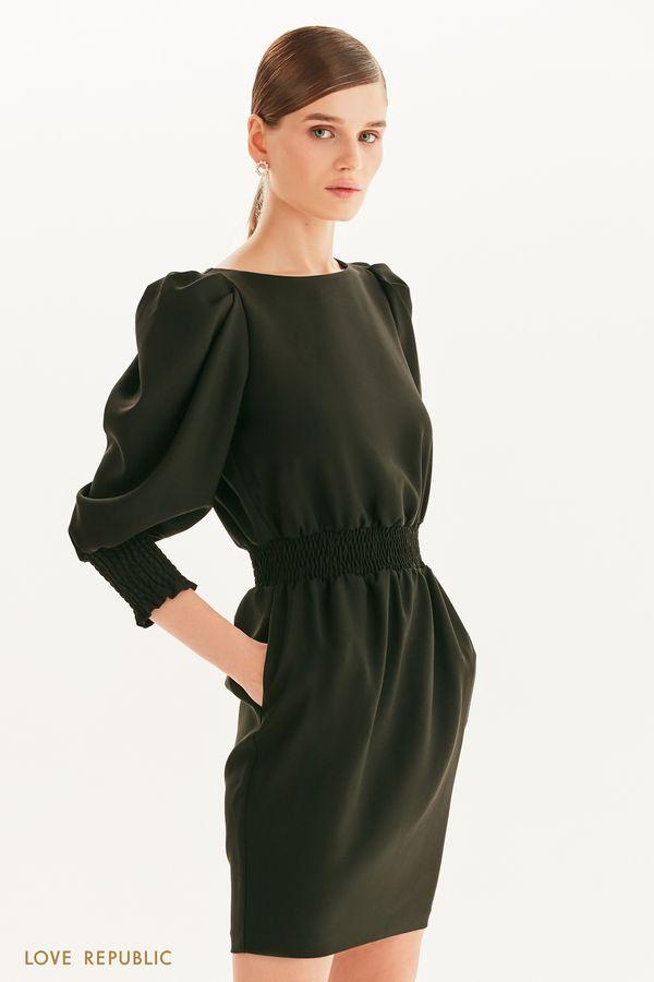 Платье миди с вафельной резинкой 1359229525-61