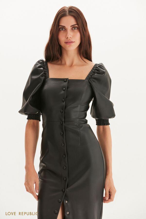 Платье-футляр из экокожи 1359234527-61