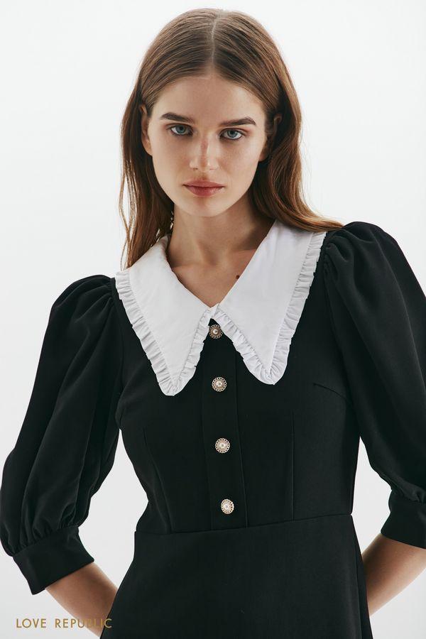 Платье с отложным воротником и пуговицами 1359240531-50