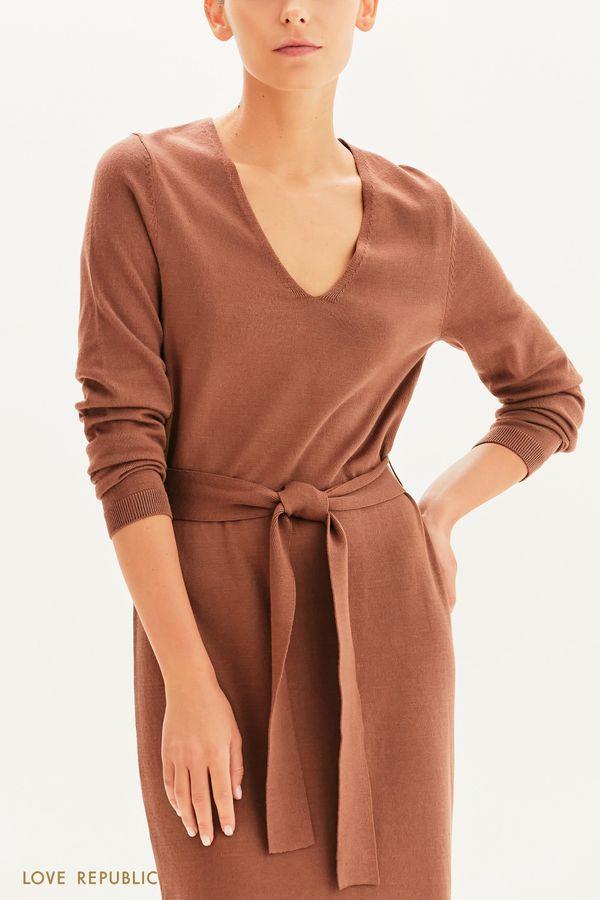 Трикотажное платье с поясом 1359308508-50