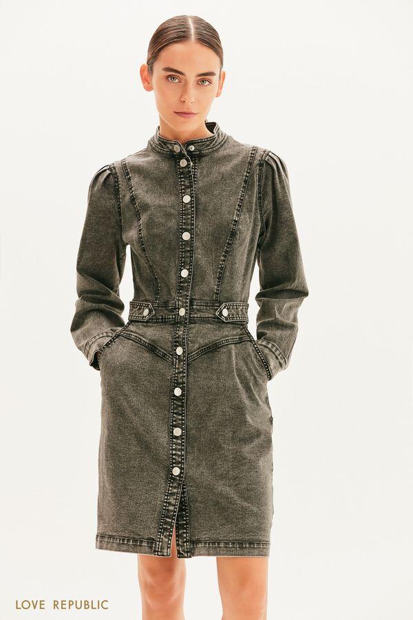 Платье из вареного денима 1359415515-108