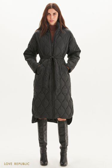 Стеганое пальто с поясом 1359528128