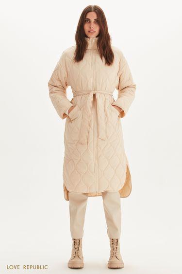 Стеганое пальто с поясом 1359530128