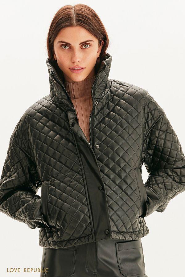 Стеганая куртка из экокожи 1359556137-50