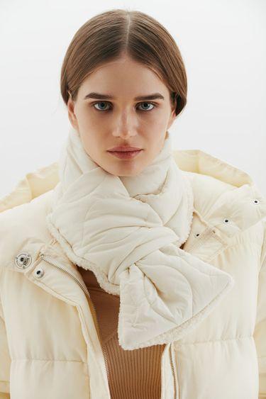 Утепленный комбинированный шарф 144015012