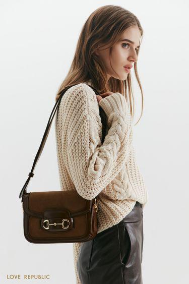 Миниатюрная сумка из комбинированной экокожи 144020027