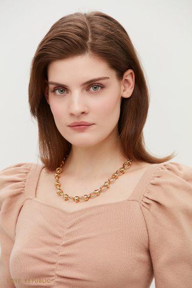 Золотистая цепь с эксклюзивным трендовым плетением 144145013