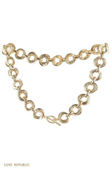 Золотистое колье-цепь с застежкой тогл 144445015