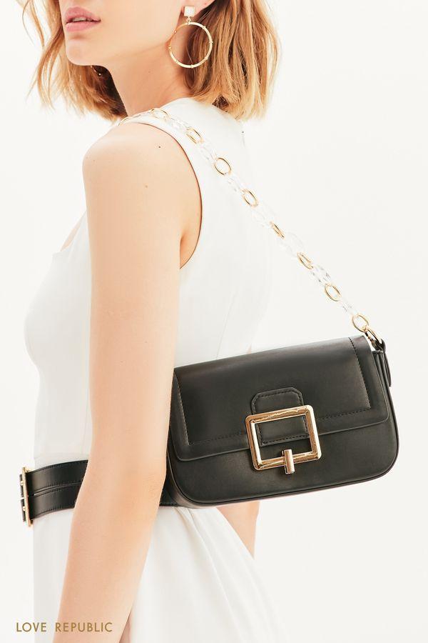 Миниатюрная сумка с пряжкой и комбинированными ручками 144720018-50