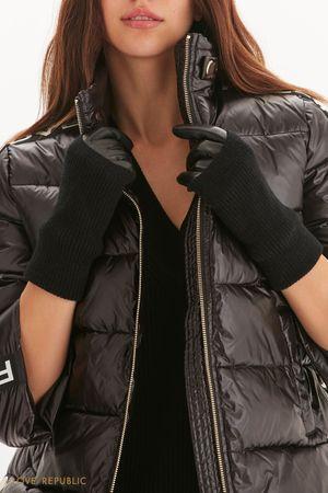 Кожаные перчатки с трикотажными митенками