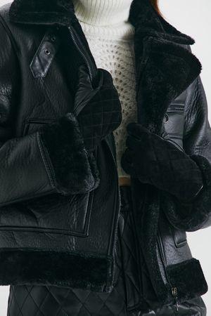 Стеганые перчатки из кожи и замши