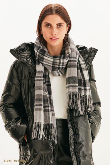 Клетчатый шарф с бахромой 144915009