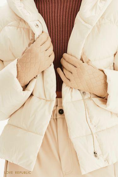 Стеганые перчатки из натуральной кожи 144917001