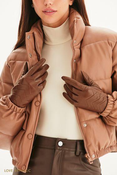 Стеганые перчатки из натуральной кожи 144917007