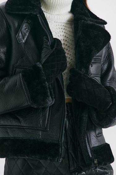 Стеганые перчатки из кожи и замши 144917009