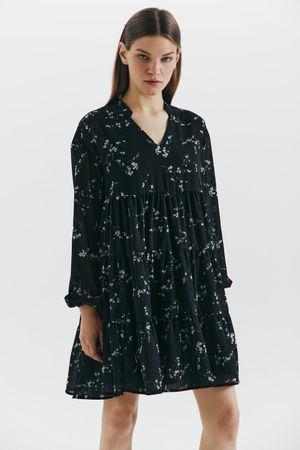 Шифоновое платье-трапеция с цветочным принтом