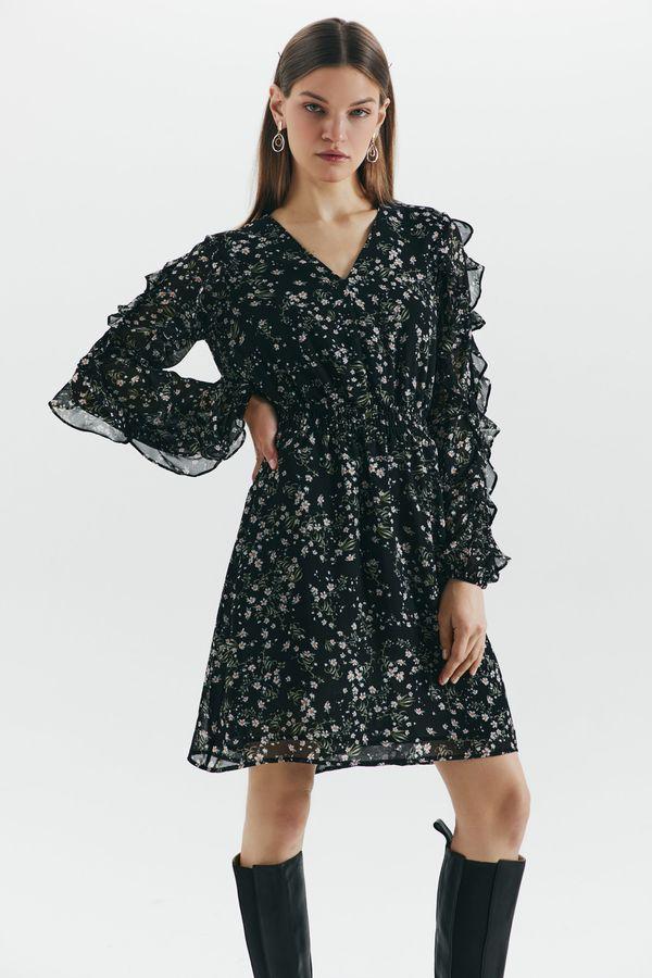 Шифоновое платье с оборками 1450013528-55