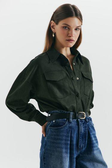 Прямая рубашка из экозамши 1450104308