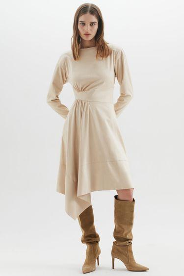 Асимметричное платье миди 1450106508