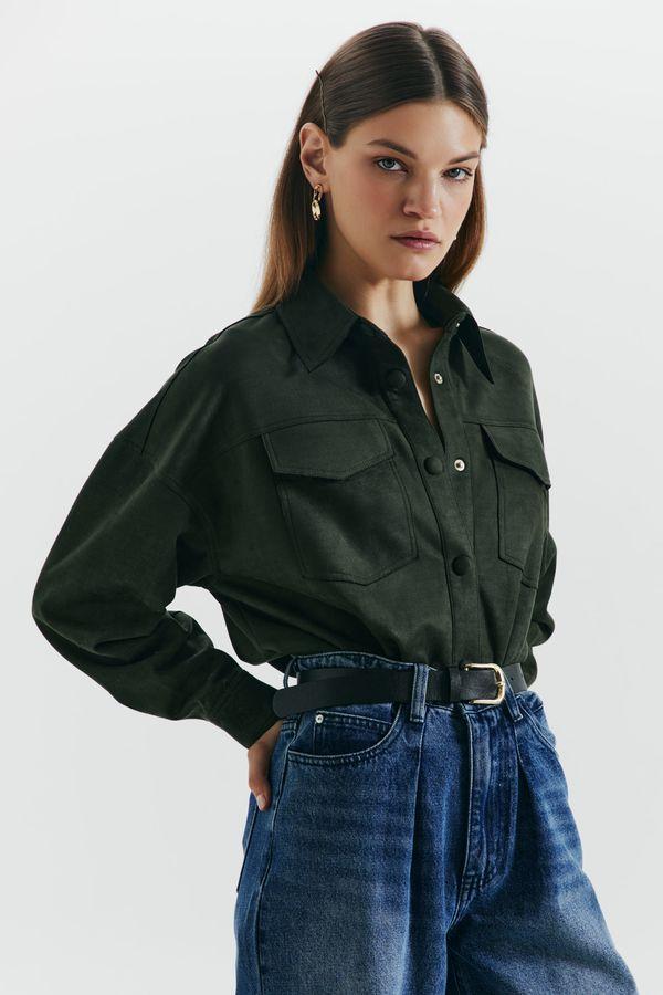 Прямая рубашка из экозамши 1450104308-17