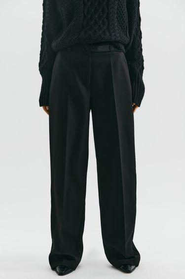 Прямые брюки с поясом 1450227725